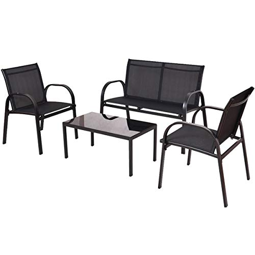 Lucidz Tea Coffee Table and Chairs Patio Furniture Outdoor Set Sofa Steel Frame Garden Deck Black 4 PCS