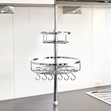 Küchenstange bremermann küchen teleskopregal inkl 2 körben und 6 haken 6411