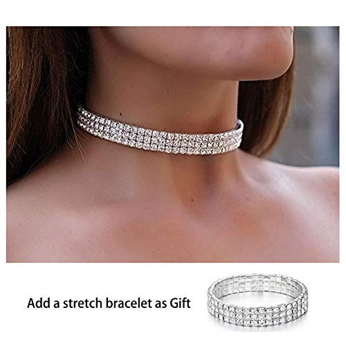 Zealmer Daycindy 3 Rows Clear Rhinestone Choker Necklace & Bracelet for Women Silver Tone