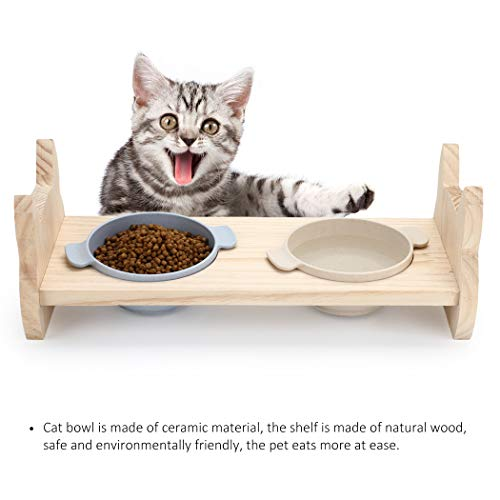 Legendog Cat Dog Food Bowls, Non-Slip Small Dog Bowl Set, Cat Dog Feeding Bowls Elevated for Cats and Small Dogs, Cute Ceramic Cat Double Food Bowls with Wooden Stand, Pet Water Food Bowl Set