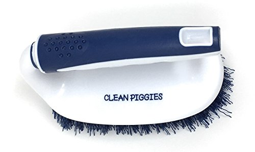 Clean Piggies Dirty Cubicle Grime Grabber Scrub Brush Handle Heavy Duty, Small, Utility, Flexible Stiff Bristles Best Scrubbing & Cleaning Bath, Shower, Bathroom, Toilet, Kitchen, Dish, Floor
