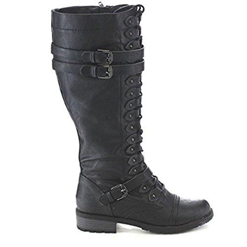 Boots Black Shoes Fashion 7 Knee Combat High Military US LnLyin Women's Black 5 7YqSTT