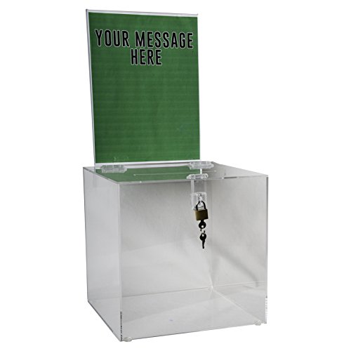 Clear-Ad - SBB-1010-H - Acrylic Donation Box with Lock and Sign Holder - Plastic Countertop Container for Voting, Charity, Ballot, Survey, Raffle, Contest, Suggestions, Tips, Comments (10x10 (Plastic Suggestion Box)