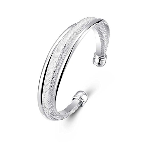 SOMUNS 925 Sterling Silver Bangle Bracelet, Fashion Simple Open Bangles Two Bead Cuff Jewelry for Women,Men,Girls,Boys 925 Sterling Silver Bangle