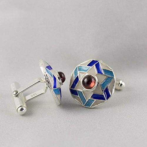 Star of David Cuff-Links Blue on White w Garnet Judaica Jewelry for Men Sterling Silver Enameled Magen David Large Cufflinks Gift for Him