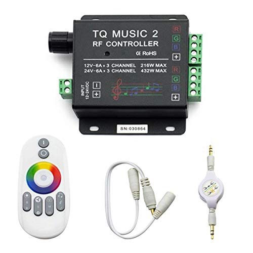 SUPERNIGHT LED RGB Music Touch Controller RF Sensitivety Backlight RF Remote Touching Color 3.5MM Audio 15 Music Modes LED Light Strip Controller (Rgb Remote Control Box)