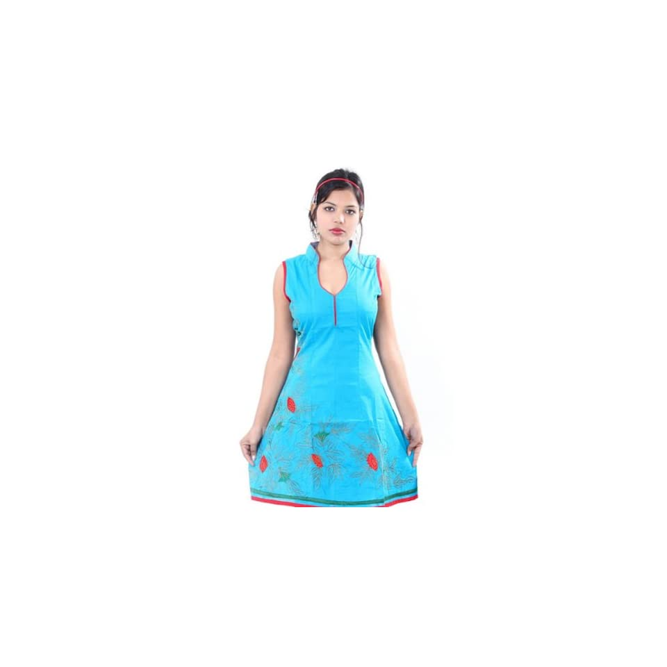 Sky Blue Cotton Multi Color Embroidered Party Dress