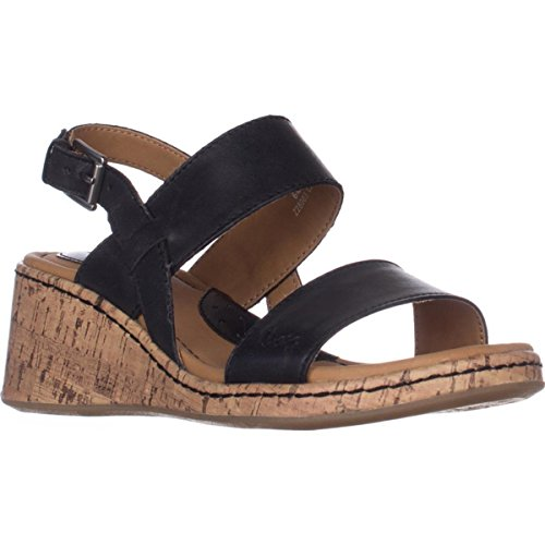 Black O B Casual Womens Lillia Sandals Open C Slingback Leather Toe 4xfwxgdvq