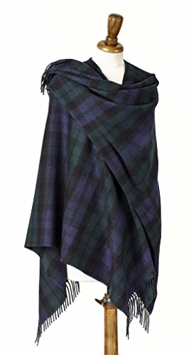 - Womens Mini Ruana - Wrap - Merino Lambswool - Tartan - Blackwatch