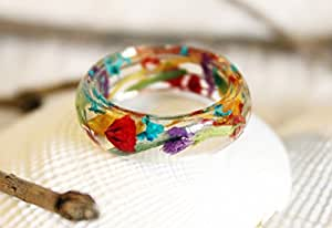 Real Flower Ring, Resin Ring, Resin Jewelry, Nature Ring, Flower Jewelry, Flower Ring, Fairy Ring, Multicolor, Pressed Flower Jewelry, Cute