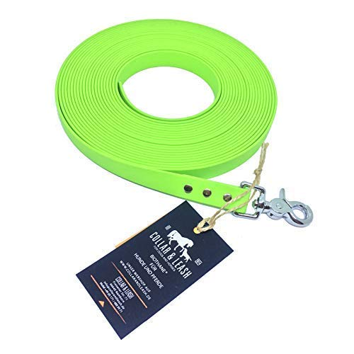 12 m Collar & Leash Tracking Lead from 19 mm Biothane 1-15 Meter Apple Green Apple Green, 12 m