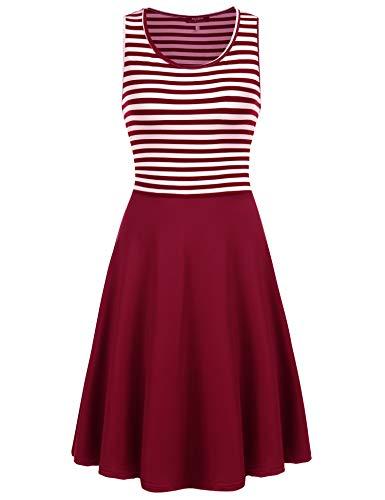 SE MIU Women O-Neck Summer Sleeveless Striped Casual Dress ()