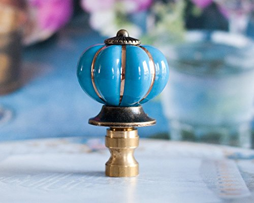 1 of Blue Scallop Porcelain Lamp Shade Finial Topper