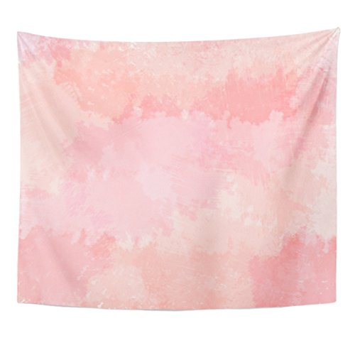 Emvency Tapestry Colorful Abstract Light Pink Blush Coral Digital Watercolor Red Floral Color Home Decor Wall Hanging Living Room Bedroom Dorm 50x60 inches