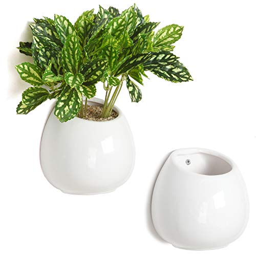 MyGift 6-inch White Ceramic Wall-Mounted Succulent Planters, Set of 2