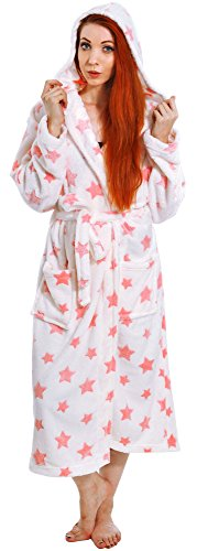 Livingston Luxurious Classic Flannel Long Sleeve Hooded Velour Robe w/Pockets, Star
