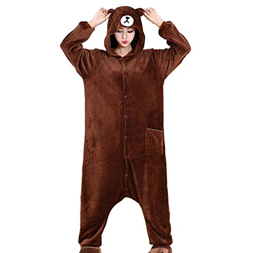 HKSNG US Brown Teddy Bear Pajamas Kigurumi Onesies Costumes (Teddy Bear Pjs)