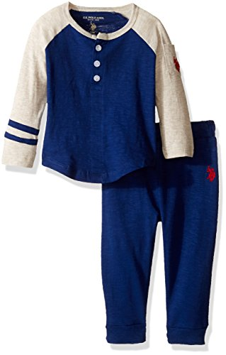 U.S. Polo Assn. Baby Boys' Long Sleeve Slub Jersey Raglan Henley and French Terry Joggers, Marina Blue, 12 Months