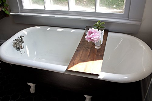 Rustic Wood Bathtub Tray - Walnut Bath Tub Caddy Wooden Bathtub ...