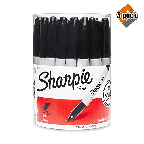 Sharpie Fine Point Permanent Marker, Black (Canister with 36 Pens) (3 Pack (Black))