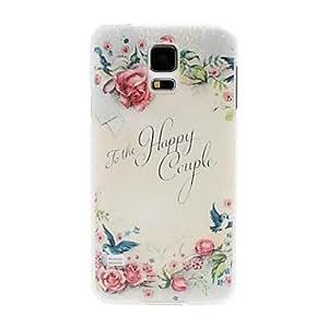 TY-Litchi textura Flores y pájaros Patrón de plástico duro caso para Samsung Galaxy i9600 S5