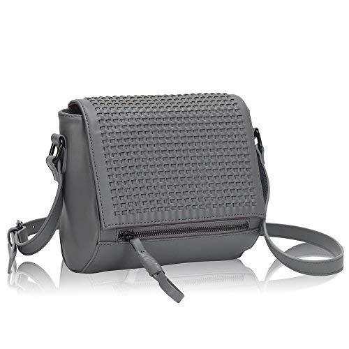 7c365415adc6 Faux Leather Crossbody Bag Purse Flapover Shoulder Bag for Women Grey. Hynes  Victory