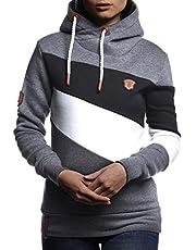 LEIF NELSON Damen Pullover-Hoodie Kapuze | Moderner Sweatshirt-Kapuzenpullover | Frauen Longsleeve-Pulli Slim Fit 10240