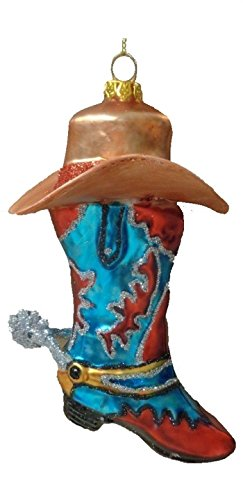 - Cape Shore Cowboy Boot and Hat Christmas Holiday Ornament Glass