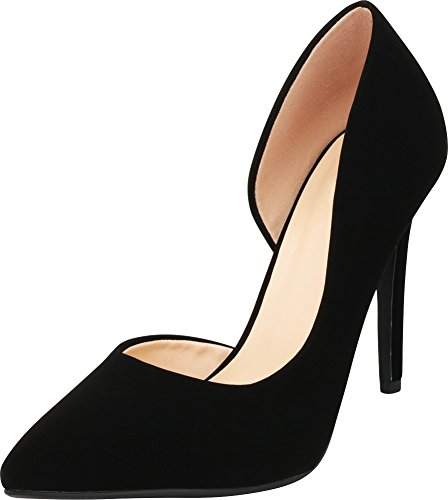 Cambridge Select Women's Classic Closed Pointed Toe D'Orsay Inside Cutout Stiletto High Heel Pump (8 B(M) US, Black NBPU) ()