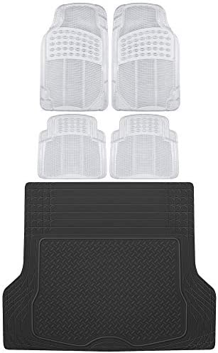 BDK OF-554 Rubber Car Floor Mats, Universal Front & Rear Combo Set with Trunk Cargo Mat Liner for Car Sedan SUV Van, Heavy Duty All Weather Trim to Fit