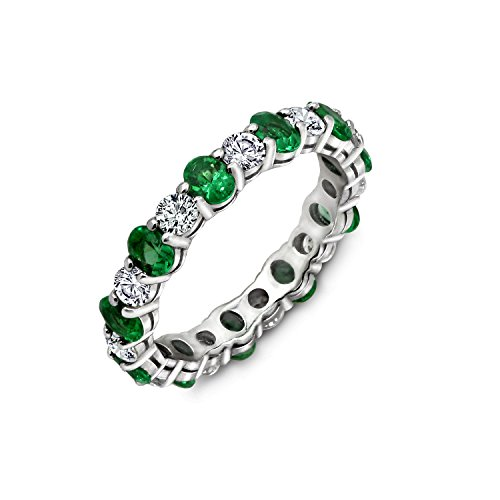 Diamonbliss Sterling Silver Cubic Zirconia Created Gemstone Eternity Band Ring- Emerald, Size 9