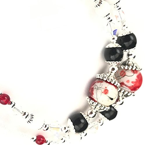 Swarovski Beaded Necklace - Beaded Lanyard~Red/Black/White~Swarovski Crystal~Badge ID Holder