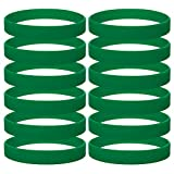 GOGO 12 PCS Silicone Wristbands, Adult Rubber Bracelets, Party Accessories-ForestGreen