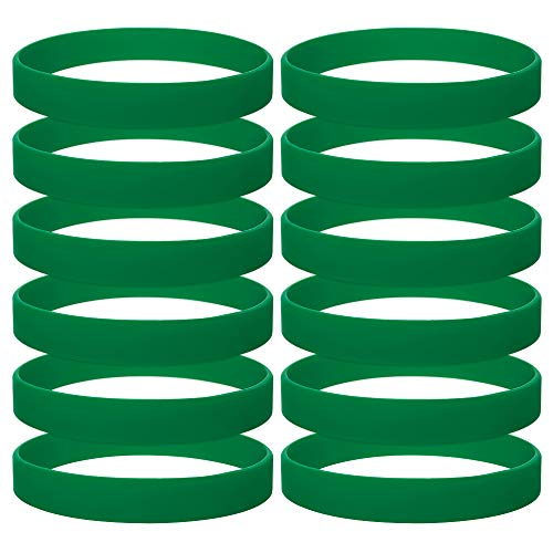 GOGO 120PCS Silicone Bracelets Adult-Sized Rubber Band Bracelets Wristbands for Party - Forest Green