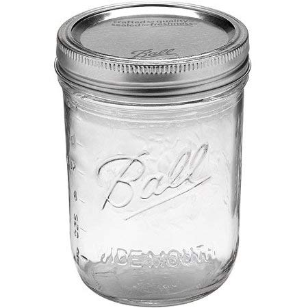 Ball Mason Jar-16 oz. Clear Glass Wide Mouth - Set of 12