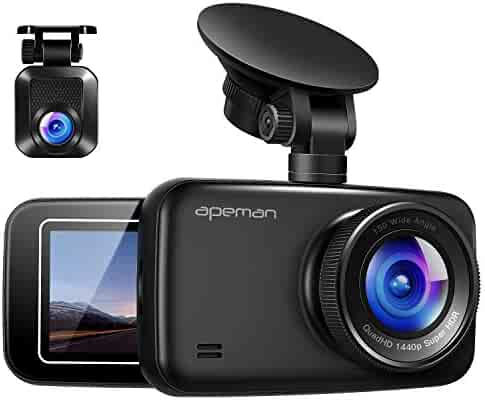 APEMAN 1440P&1080P Dual Dash Cam FHD Front and Rear Camera for Cars, Support 128GB max, Driving Recorder with IR Sensor Night Vision, Motion Detection, G-Sensor, Parking Monitor