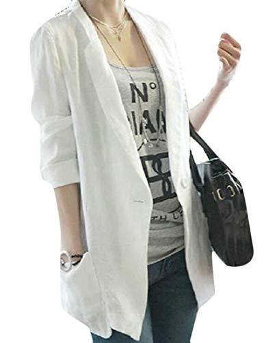 BYWX Women Notch Lapel Long Sleeve Mid Length One Button Linen Lightweight Blazer White US XL