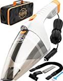 Car Vacuum Cleaner High Power - 110W 12v Corded auto Portable Vacuum Cleaner for Car Interior Cleaning - TWC-02 by ThisWorx for car (White)