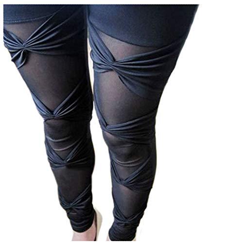 Polytree Women's Ripped Stretch Leggings Pants (Black 1)