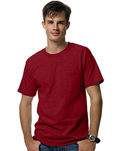 Hanes Beefy-T Adult Pocket T-Shirt, Cardinal, M US (Chest 38-40) - Adult Cardinal Red T-shirt