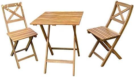 SAM Lot de 3 Xenia Salon de Jardin composé de 1 Table + 2 chaises Pliables  en Bois d\'acacia Massif & huilé certifié FSC 100%