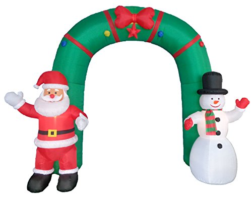 10 Foot Tall Lighted Christmas Inflatable Archway with Santa Claus and Snowman Party Decoration by BZB Goods