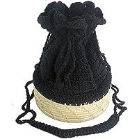 Bolsa Saco Redonda de Crochê Preta e Palha de Carnaúba Natural