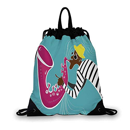 Jazz Music Decor Nice Drawstring Bag,Contemporary Illustration of Sax Player with Sound Waves Free Your Soul Grunge Home Decor For hiking,7.4