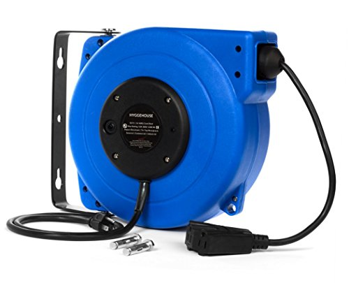 High Performance 50Ft Retractable Extension Cord Reel. 14AWG, 13A, Tri-Tap Receptacle. 180 Swivel Mounting Bracket + Hardware Included. Reset Button, LED Power Status Light & Adjustable Stopper (Reel Cord Button)