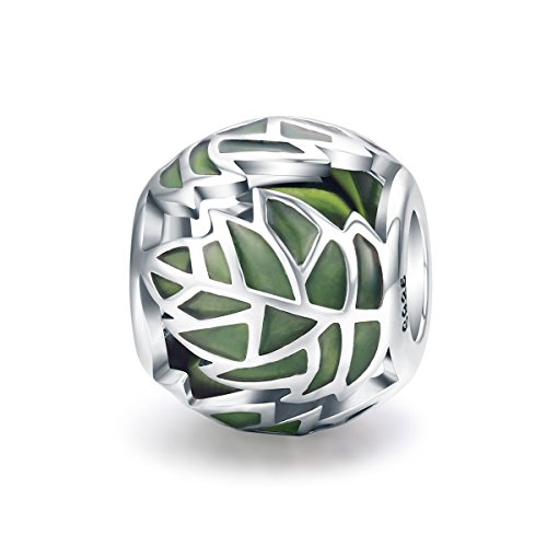 Everbling Tree of Life Tree Leaves Green Enamel Bead 925 Sterling Silver Bead For European Charm Bracelet ()