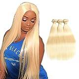 Meide Hair #613 Blonde Hair Double Drawn Weft, 9A Silky Straight Brazilian Virgin Hair Unprocessed Platinum Blonde Silky Straight Hair 3 Bundles a Lot, 100% Human Hair Extensions (26 28 30)