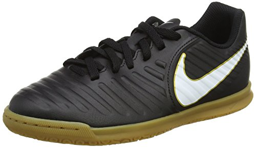 NIKE Kids Jr Tiempox Rio IV (IC) Indoor Soccer Shoe Black/White Size 5 M US by NIKE