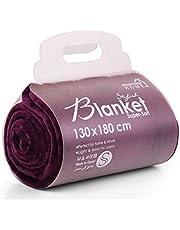 بطانية للمنزل من مينترا - فائقة النعومة، 100% بوليستر (ارجواني، مقاس 51 × 70 بوصة (صغير)، بطانية صوف دافئة خفيفة الوزن / غطاء للسرير/ الاريكة