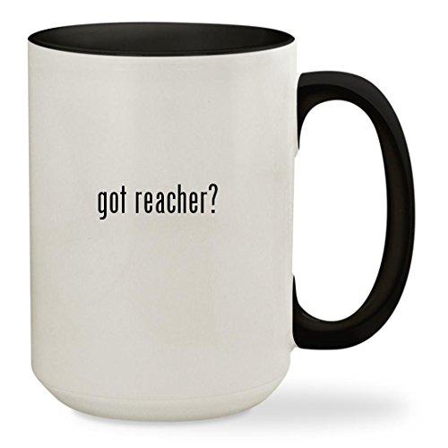 got reacher? - 15oz Colored Inside & Handle Sturdy Ceramic Coffee Cup Mug, Black